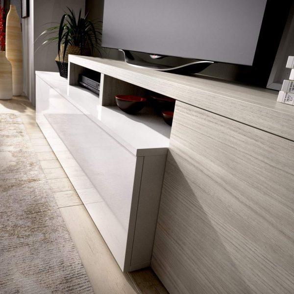 Mueble de salón de diseño moderno blanco y gris