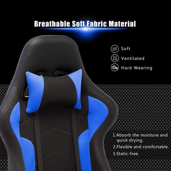 Silla gaming ergonómica azul