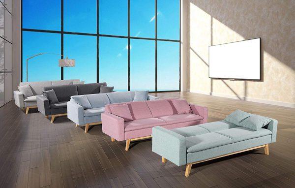 Sofá cama elegante gris claro