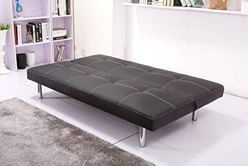 Sofá cama tapizado en piel ecológica negro