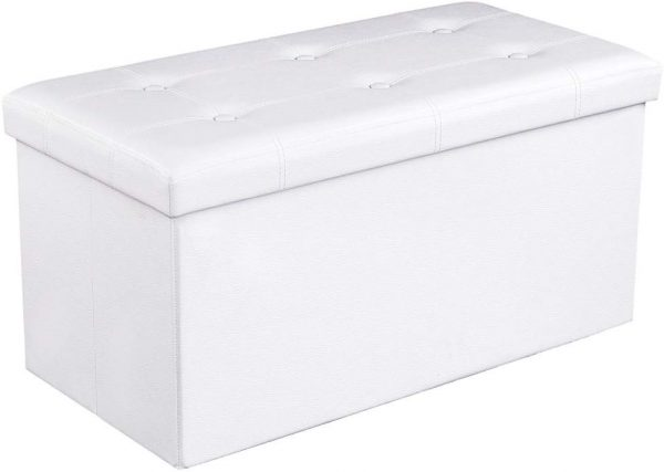 taburete almacenaje plegable blanco